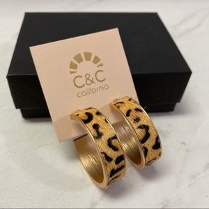 C & C California leopard hair hoop earrings